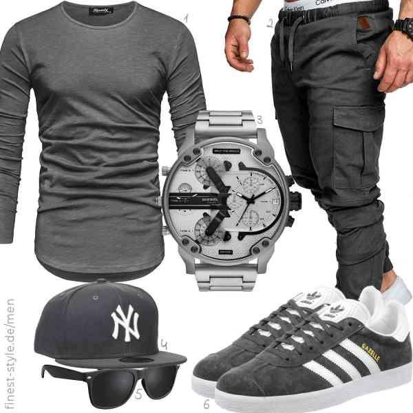 Top herren-Outfit im Finest-Trend-Style für ein selbstbewusstes Modegefühl mit tollen Produkten von REPUBLIX,REPUBLIX,Diesel,New Era,La Optica B.L.M.,adidas