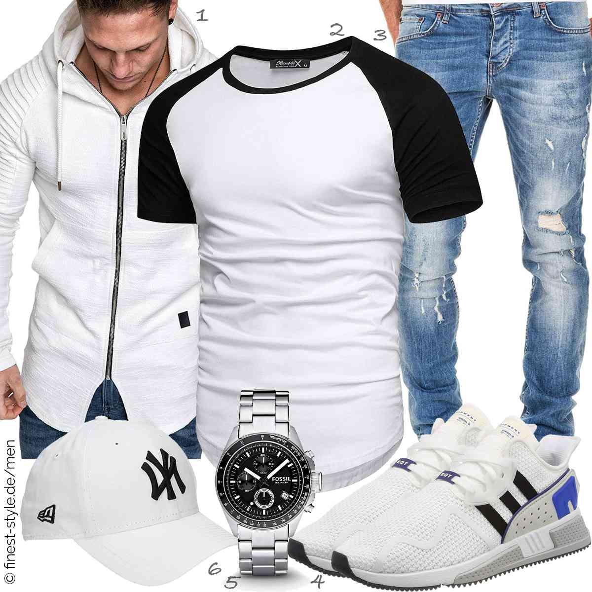 Top Herren-Outfit im Finest-Trend-Style für ein selbstbewusstes Modegefühl mit tollen Produkten von Amaci&Sons,REPUBLIX,Amaci&Sons,adidas,Fossil,New Era