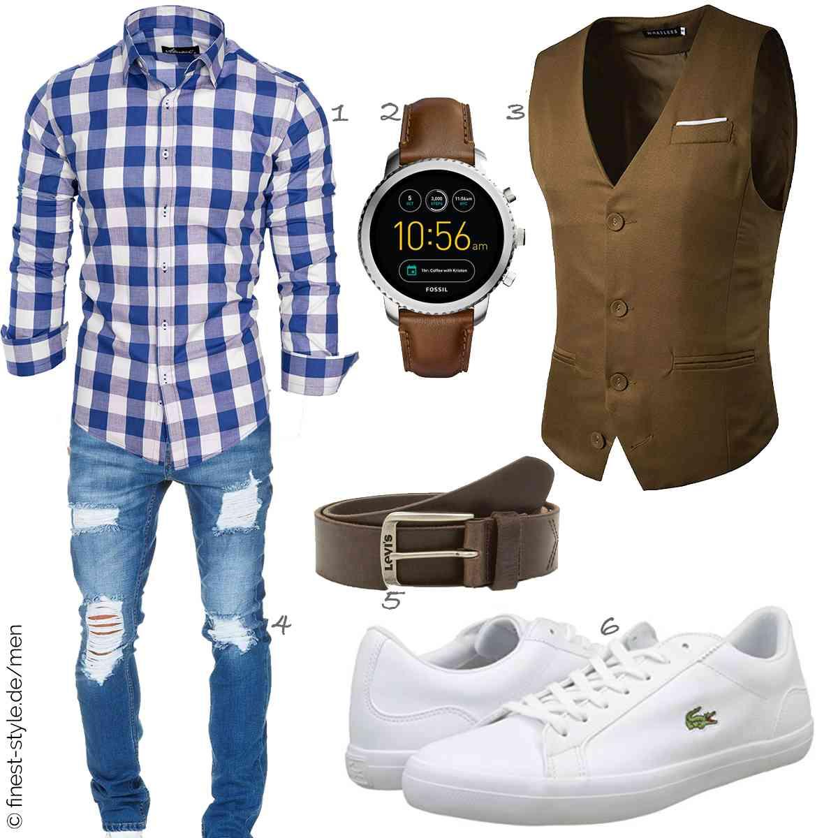 Top Herren-Outfit im Finest-Trend-Style für ein selbstbewusstes Modegefühl mit tollen Produkten von Amaci&Sons,Fossil,WHATLEES,Amaci&Sons,Levis,Lacoste
