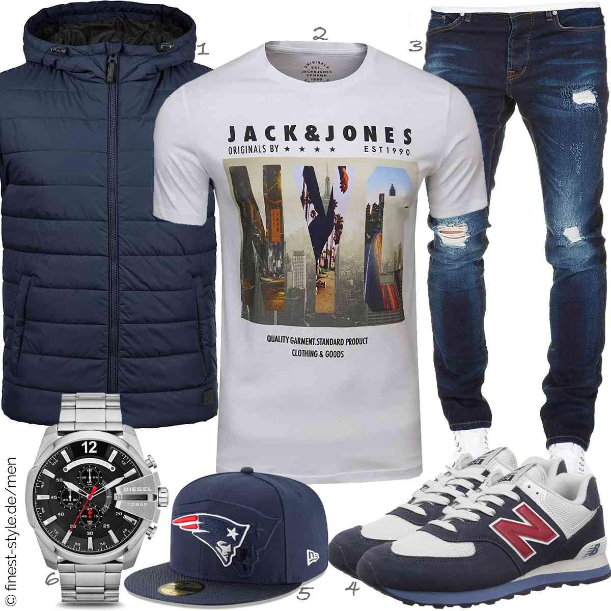 Top Herren-Outfit im Finest-Trend-Style für ein selbstbewusstes Modegefühl mit tollen Produkten von Blend,JACK & JONES,Amaci&Sons,New Balance,New Era,Diesel