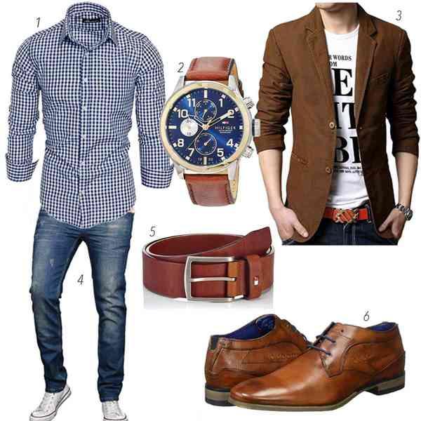 buy online 497eb 77040 Männeroutfit in Blau und braun mit Hemd, Jeans, Sakko u