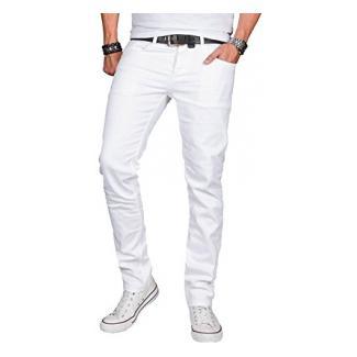 A. Salvarini Designer Herren Jeans Hose Basic Stretch Jeanshose Regular Slim [AS040 - Weiss - W33 L36]