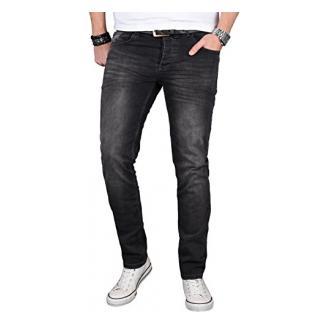 A. Salvarini Designer Herren Jeans Hose Regular Slim Fit Jeanshose Basic Stretch [AS-057 - W34 L30]