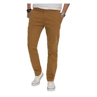 A. Salvarini Herren Designer Chino Stoff Hose Chinohose Regular Fit AS016 [AS016 - Camel - W38 L34]