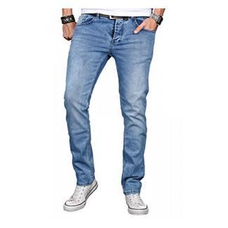 A. Salvarini Herren Designer Jeans Hose Stretch Basic Jeanshose Regular Slim [AS048 - W32 L32]