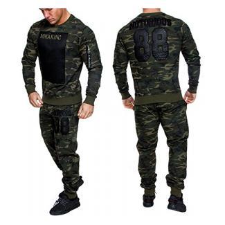 Amaci&Sons Camouflage Herren Sportanzug Jogginganzug Trainingsanzug Sporthose+Hoodie 1011