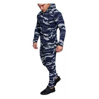 Amaci&Sons Camouflage Herren Sportanzug Jogginganzug Trainingsanzug Sporthose+Hoodie EX-02 Camouflage Navy M
