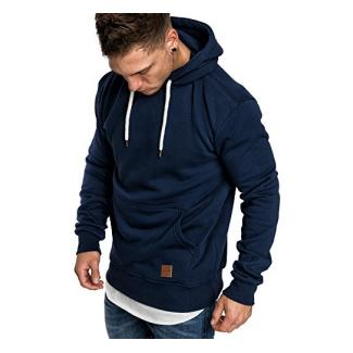 Amaci&Sons Herren Basic Kapuzenpullover Sweatjacke Pullover Hoodie Sweatshirt 4023 Navyblau M