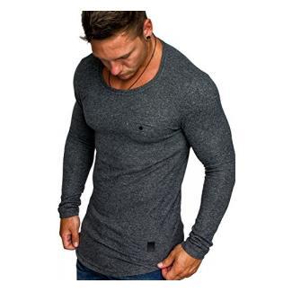 Amaci&Sons Herren Basic Pullover Melange Sweatshirt Crew Neck Fein-Strick Hoodie 6055 Anthrazit Melange L