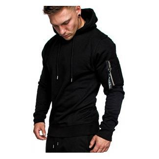 Amaci&Sons Herren Cargo-Style Pullover Sweatshirt Hoodie Sweater Camouflage 4003 Schwarz L