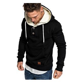 Amaci&Sons Herren High Neck Kapuzenpullover Sweatjacke Pullover Hoodie Sweatshirt 4024 Schwarz M