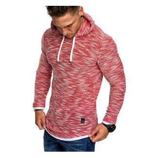 Amaci&Sons Herren 2in1 Kapuzenpullover Hoodie Sweater Pullover Sweatshirt 4013 Rot L