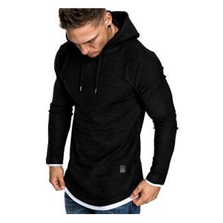 Amaci&Sons Herren 2in1 Oversize Kapuzenpullover Hoodie Sweater Sweatjacke Pullover Sweatshirt 4014 Schwarz M