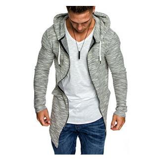 Amaci&Sons Herren Kapuzenpullover Zipper Sweatshirt Hoodie Sweatjacke Pullover 4016 Grau L