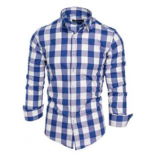 Amaci&Sons Herren Kariertes Slim-Fit Trachtenhemd Bügelleicht Oktoberfest Karo Hemd 5005 Royalblau XL