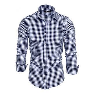 Amaci&Sons Herren Kariertes Slim-Fit Trachtenhemd Bügelleicht Oktoberfest Karo Hemd 5006 Royalblau S