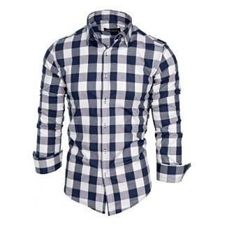 Amaci&Sons Herren Kariertes Slim-Fit Trachtenhemd Bügelleicht Oktoberfest Karo Hemd Navyblau S