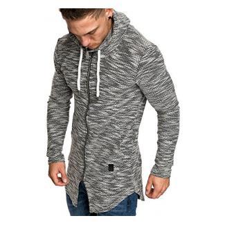 Amaci&Sons Herren Oversize Hochkragen Kapuzenpullover Jacke Sweatshirt Hoodie Sweatjacke Pullover 4015 Schwarz L