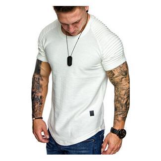 Amaci&Sons Herren Oversize Vintage Biker-Style Crew-Neck T-Shirt Sweatshirt 6068 Weiß S