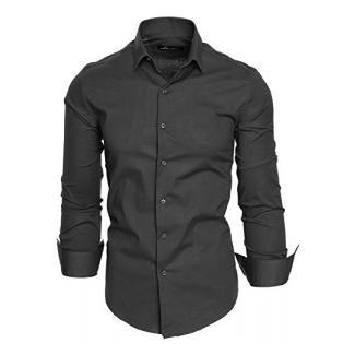 Amaci&Sons Herren Slim Fit Hemd Bügelleicht Business Freizeit Shirt 50003 Anthrazit M