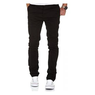 Amaci&Sons Herren Slim Fit Stretch Chino Hose Jeans 7100 Schwarz W32/L32