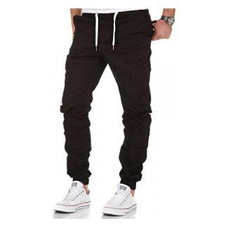 Amaci&Sons Herren Stretch Jogger Cargo Chino Jeans Hose 7012 Schwarz W31