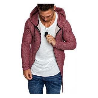 Amaci&Sons Oversize Herren Kapuzenpullover Zipper Sweatshirt Hoodie Sweatjacke Pullover 4021 Bordeaux M