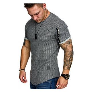 Amaci&Sons Oversize Herren Strukturmuster T-Shirt Cargo-Style Crew Neck Rundhals Basic Shirt 6037 Anthrazit S