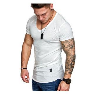 Amaci&Sons Oversize Herren Vintage T-Shirt V-Neck Basic V-Ausschnitt Shirt 6006 Weiß M