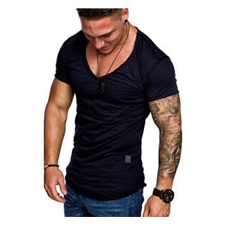 Amaci&Sons Oversize Herren Vintage T-Shirt V-Neck Basic V-Ausschnitt Shirt 6007 Navyblau S