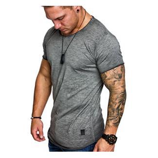 Amaci&Sons Oversize Herren Vintage T-Shirt Verwaschen Crew Neck Rundhals Basic Shirt 6033 Anthrazit L