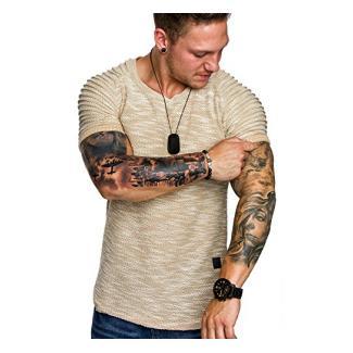 Amaci&Sons Oversize Vintage Herren Biker-Style Shirt Sweatshirt Crew-Neck 6029 Beige XL