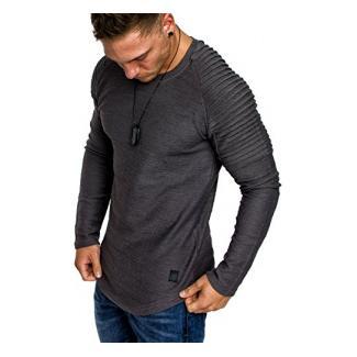 Amaci&Sons Oversize Vintage Herren Pullover Biker-Style Hoodie Sweatshirt Crew-Neck 6069 Iron L