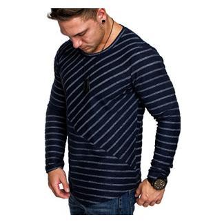 Amaci&Sons Oversize Vintage Herren Pullover Hoodie Sweatshirt Crew-Neck 6032 Navyblau S