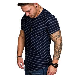 Amaci&Sons Oversize Vintage Herren Shirt Sweatshirt Crew-Neck 6031 Navyblau S