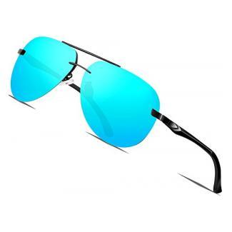 ATTCL Herren Klassik Al-Mg Metallrahmen Polarisierte Fahren Aviator Sonnenbrille Herren 1A143 blau