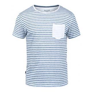 Blend Malle Herren T-Shirt Kurzarm Shirt Streifenshirt mit Streifen und Rundhalsausschnitt 100% Baumwolle, Größe:L, Farbe:Ensign Blue (70260)