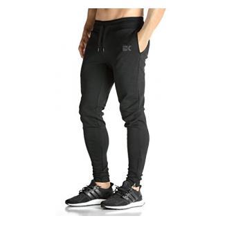 Broki Herren GYM Fitness JOGGER Trainingsanzug Slim Fit Chinos Hosen Gr. S, schwarz
