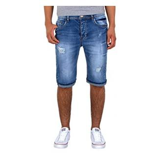 by-tex Herren Jeans Shorts kurze Bermuda Shorts Used Look kurze Hose Basic Jeans Shorts AS430