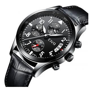 CIVO Herren Chronograph Uhr Multifunktional Mode Geschäft Analoge Quarzuhren Beiläufig Kleid Wasserdicht Datumskalender Armbanduhr für Männer Teenager mit Schwarzes Lederband