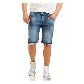 Fashion4Young Herren Bermuda Jeans Hose Denim Shorts Usedlook Freizeithose Herrenbermudas Destroyed (11081-blau, W34)