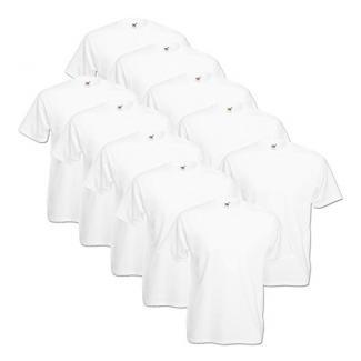10 Fruit of the loom T Shirts Valueweight T Rundhals S M L XL XXL 3XL 4XL 5XL Übergröße Diverse Farbsets auswählbar (L, Weiß)