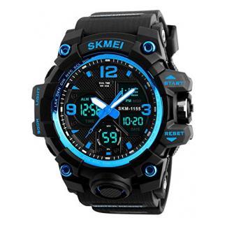 Herren digitale Uhren, Sport digitaluhr analog 50M wasserdichte Armbanduhr Militär mit Wecker, Laufen große Anzeige LED Digitaluhren für Herren