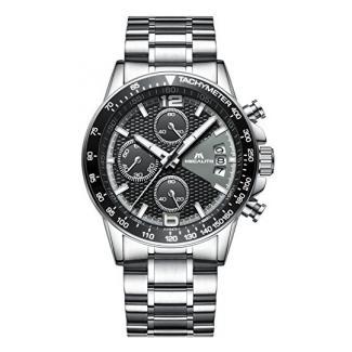 Herren Uhr Männer Chronograph Sport Wasserdicht Luxus Silber Edelstahl Armbanduhr Mann Business Mode Lässige Datum Analoge Uhren