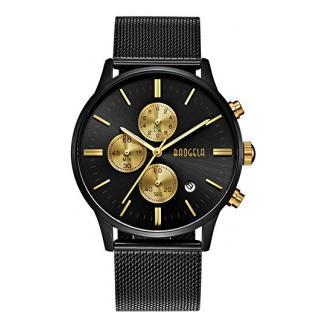 Herren Uhren Schwarz Edelstahl Mesh Armband Elegant - Analog Quarz Uhr - Gold Zifferblatt - Chronograph Wasserdicht Datum - BAOGELA Marken (Schwarz)