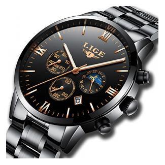 Herrenuhren LIGE Edelstahl Schwarz Klassische Luxus Business Casual Uhren mit Mondphase wasserdichte Multifunktions-Quarz-Armbanduhr für Herren