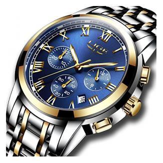 Herrenuhren Wasserdicht LIGE Luxusmarke Chronograph Sportuhren Herren Vollstahl Quarz Business Lässige Armbanduhr ...