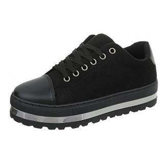 Ital-Design Sneakers Low Damen-Schuhe Sneakers Low Sneakers Schnürsenkel Freizeitschuhe Schwarz, Gr 39, Mbz-B77-