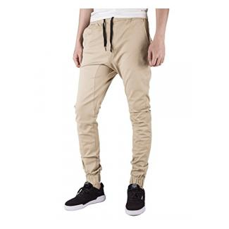Italy Morn Herren Chino Jogging Hose Casual Stoff Hose Chinohose Sporthose Slim Fit XL Creme Khaki