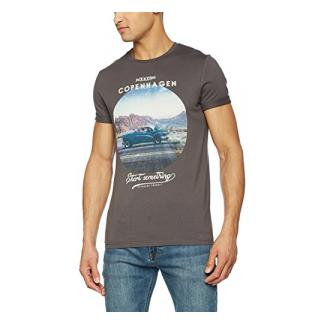 JACK & JONES Herren T-Shirt Jorroady Tee SS Crew Neck Art, Grau (Asphalt Fit:Slim), Medium